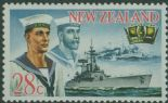 NZ SG886w 28c Sailors and HMNZS Achilles, 1939 with watermark sideways inverted